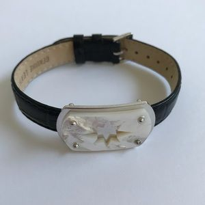 Honora Mother of Pearl, Silver + Leather Bracelet